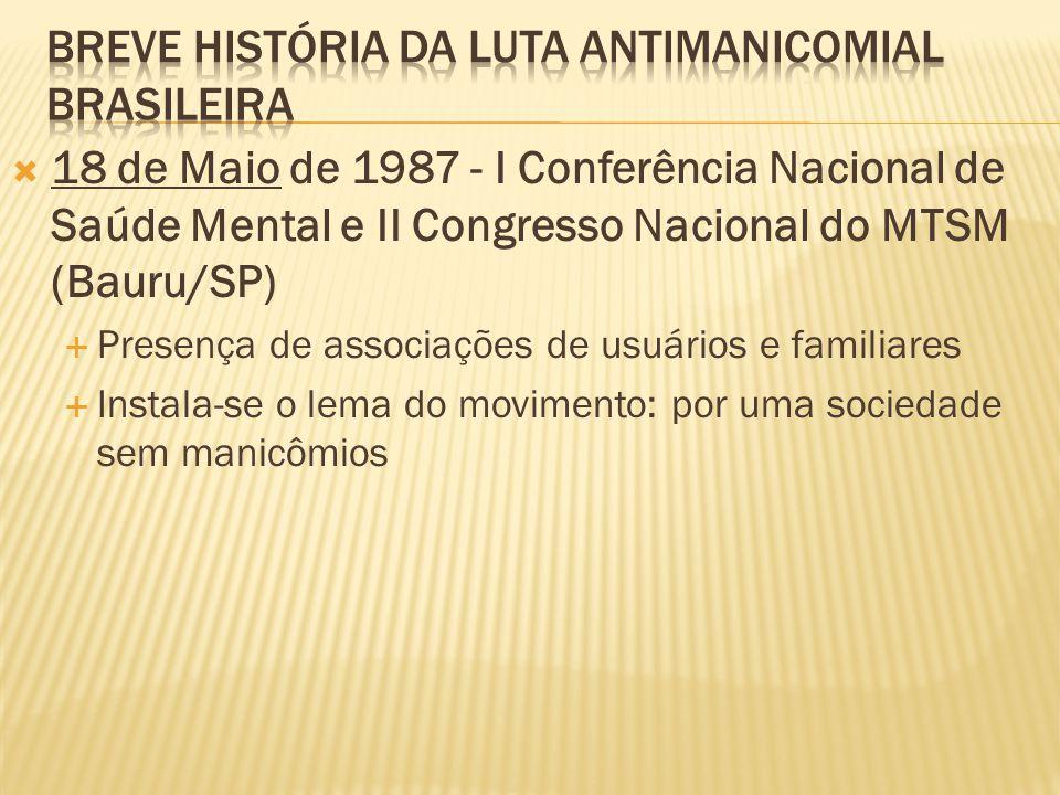  18 de Maio de 1987 - I Conferência Nacional de Saúde Mental e II Congresso Nacional do MTSM (Bauru/SP)  Presença de associações de usuários e famil