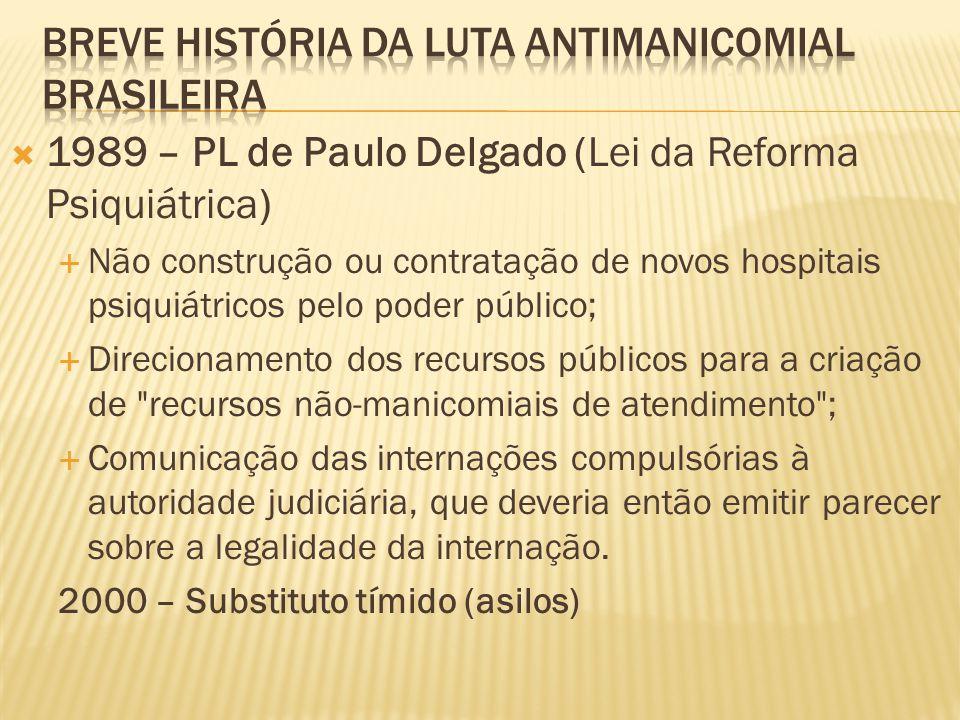  1989 – PL de Paulo Delgado (Lei da Reforma Psiquiátrica)  Não construção ou contratação de novos hospitais psiquiátricos pelo poder público;  Dire
