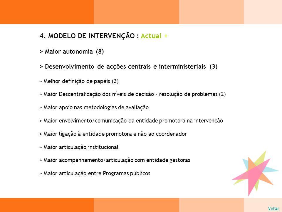 4. MODELO DE INTERVENÇÃO : Actual + Voltar > Maior autonomia (8) > Desenvolvimento de acções centrais e interministeriais (3) > Melhor definição de pa