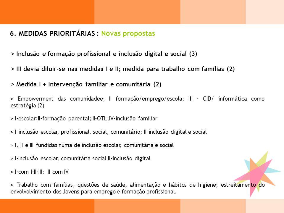 6. MEDIDAS PRIORITÁRIAS : Novas propostas > Inclusão e formação profissional e inclusão digital e social (3) > III devia diluir-se nas medidas I e II;