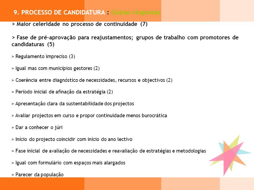 9. PROCESSO DE CANDIDATURA : Outras respostas > Maior celeridade no processo de continuidade (7) > Fase de pré-aprovação para reajustamentos; grupos d
