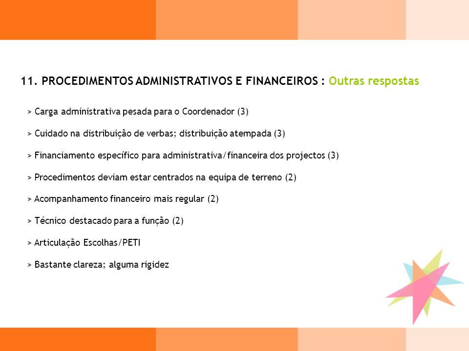 11. PROCEDIMENTOS ADMINISTRATIVOS E FINANCEIROS : Outras respostas > Carga administrativa pesada para o Coordenador (3) > Cuidado na distribuição de v