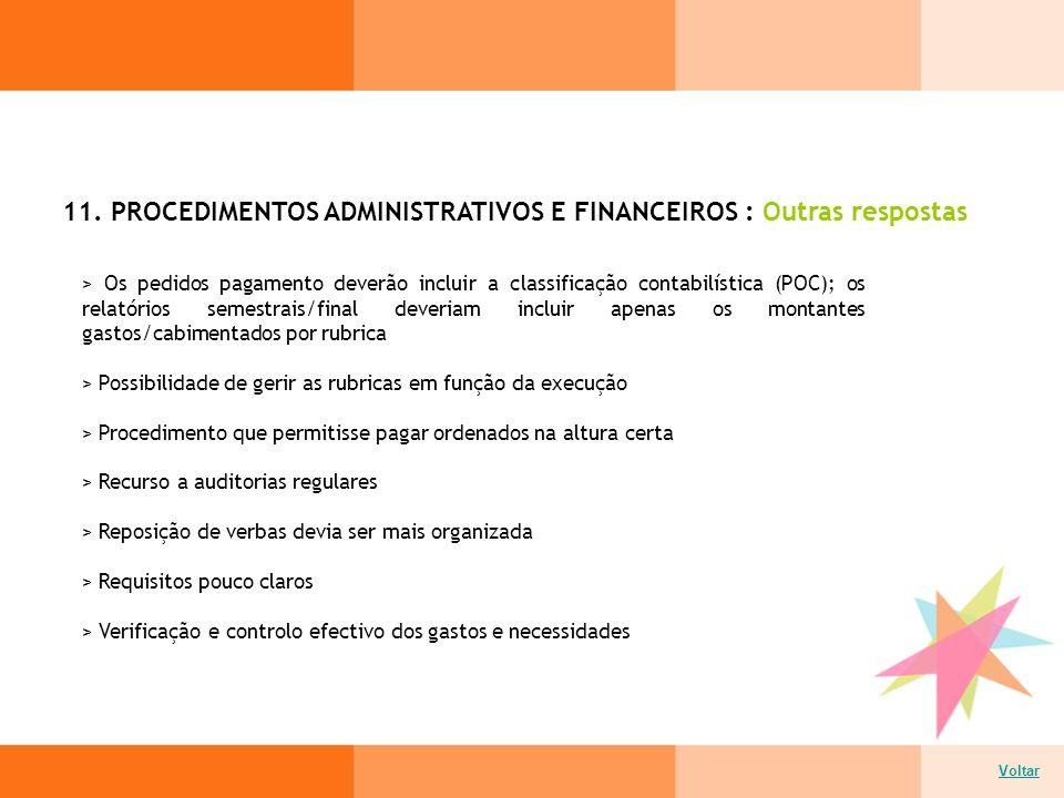 11. PROCEDIMENTOS ADMINISTRATIVOS E FINANCEIROS : Outras respostas Voltar > Os pedidos pagamento deverão incluir a classificação contabilística (POC);