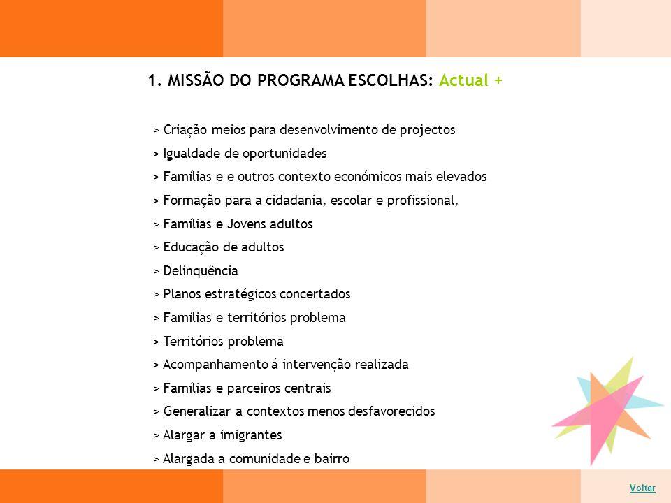 1. MISSÃO DO PROGRAMA ESCOLHAS: Actual + > Criação meios para desenvolvimento de projectos > Igualdade de oportunidades > Famílias e e outros contexto