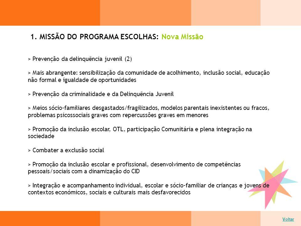 1. MISSÃO DO PROGRAMA ESCOLHAS: Nova Missão > Prevenção da delinquência juvenil (2) > Mais abrangente: sensibilização da comunidade de acolhimento, in