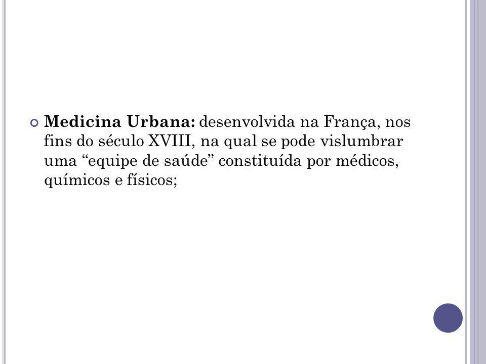 """Medicina Urbana: desenvolvida na França, nos fins do século XVIII, na qual se pode vislumbrar uma """"equipe de saúde"""" constituída por médicos, químicos"""
