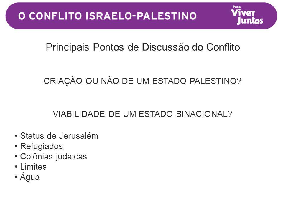 Principais Pontos de Discussão do Conflito CRIAÇÃO OU NÃO DE UM ESTADO PALESTINO.