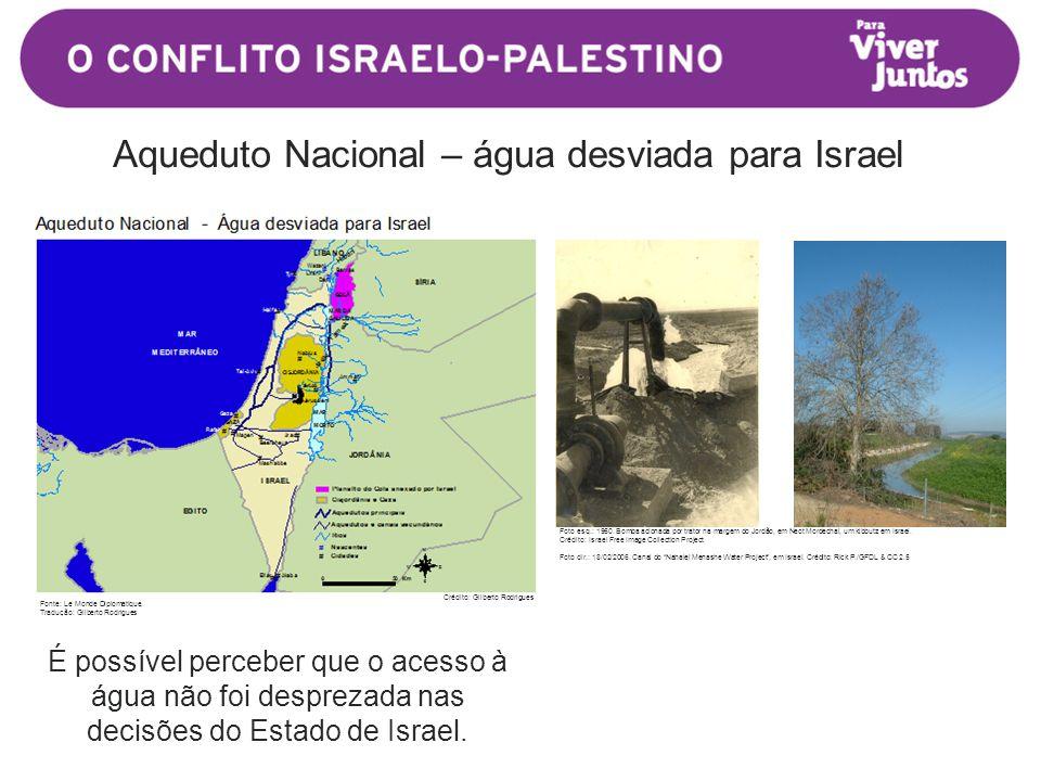 É possível perceber que o acesso à água não foi desprezada nas decisões do Estado de Israel.