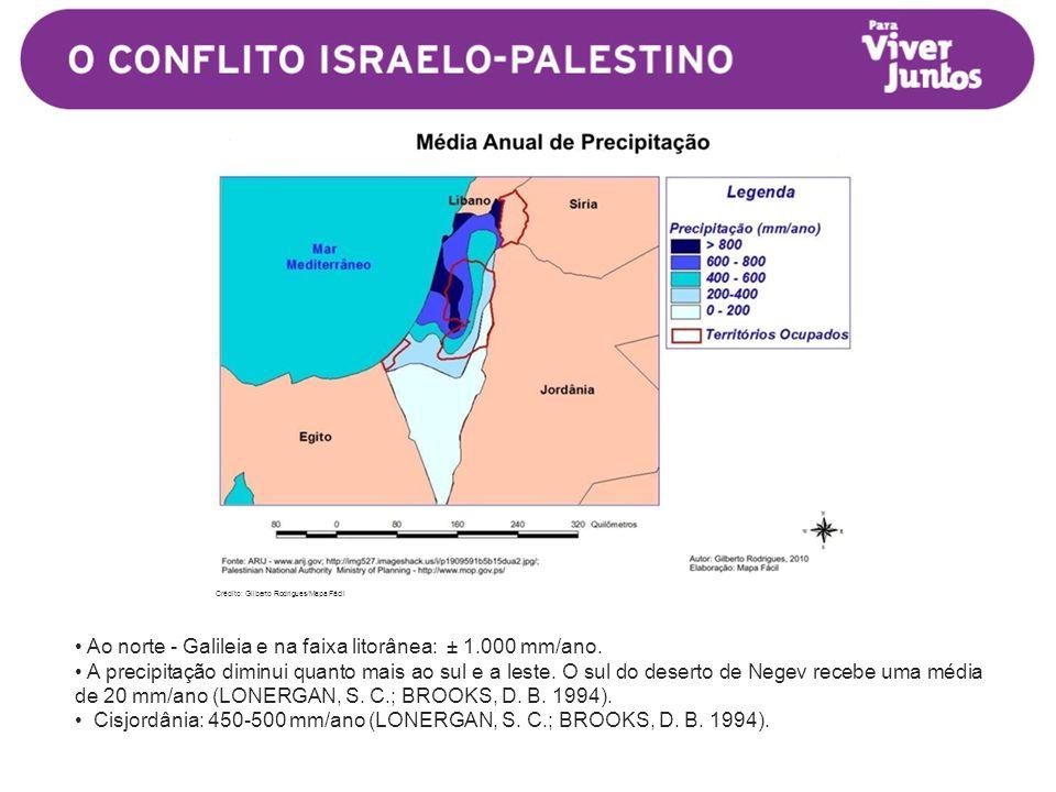 • Ao norte - Galileia e na faixa litorânea: ± 1.000 mm/ano.