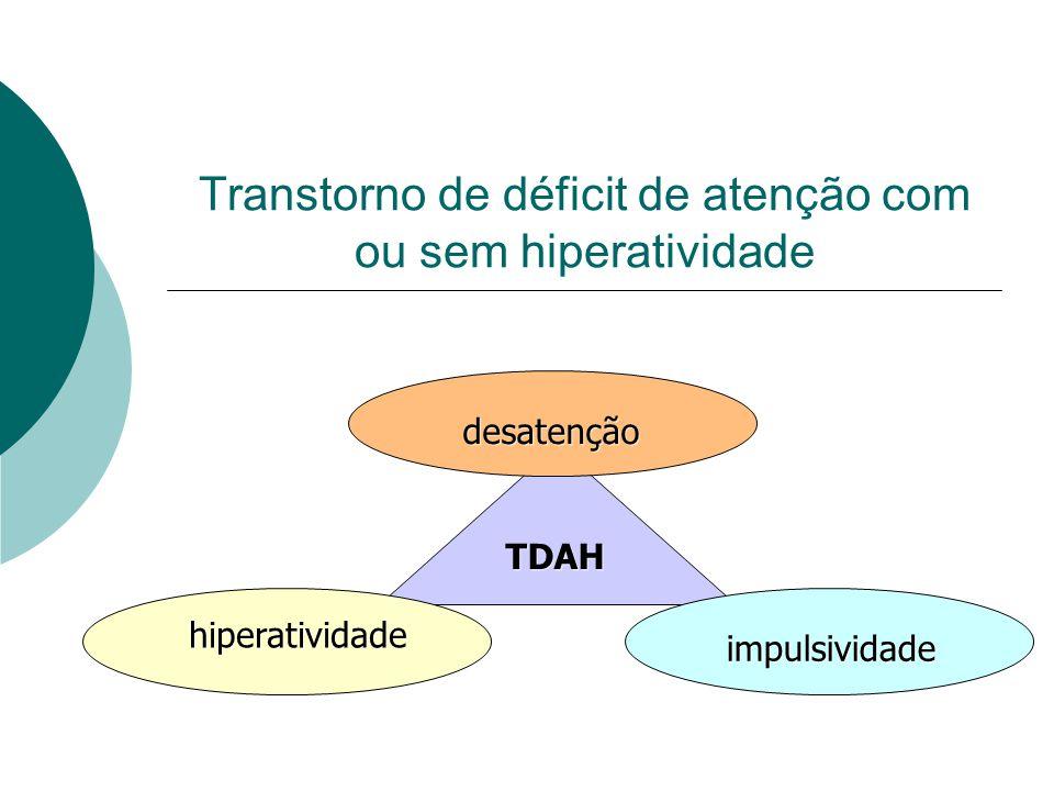 Transtorno de déficit de atenção com ou sem hiperatividade desatenção impulsividade hiperatividade TDAH