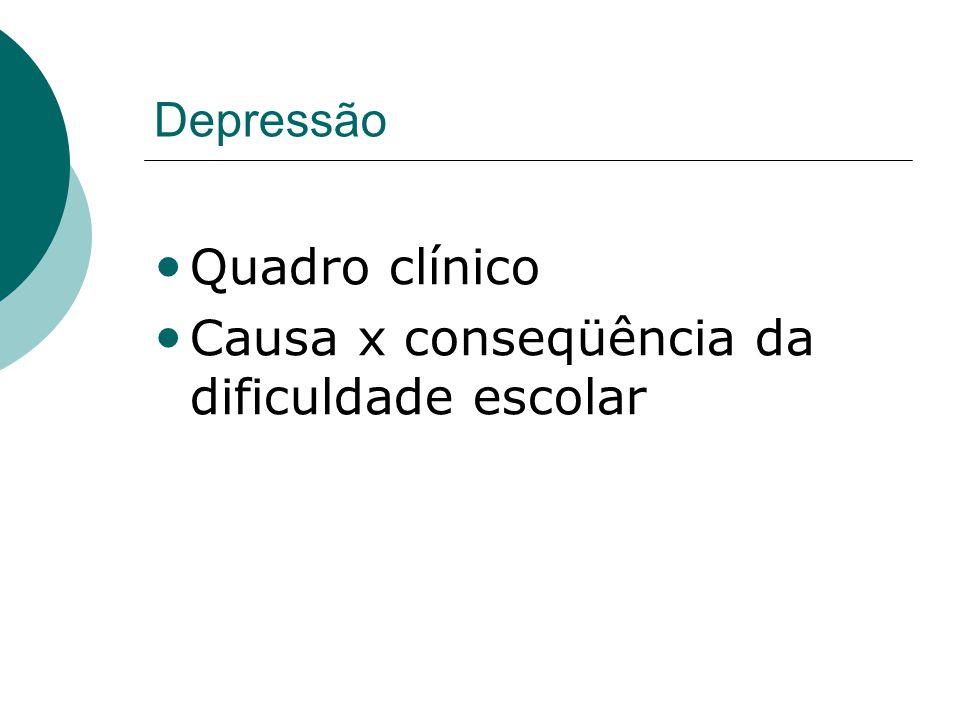 Depressão • Quadro clínico • Causa x conseqüência da dificuldade escolar