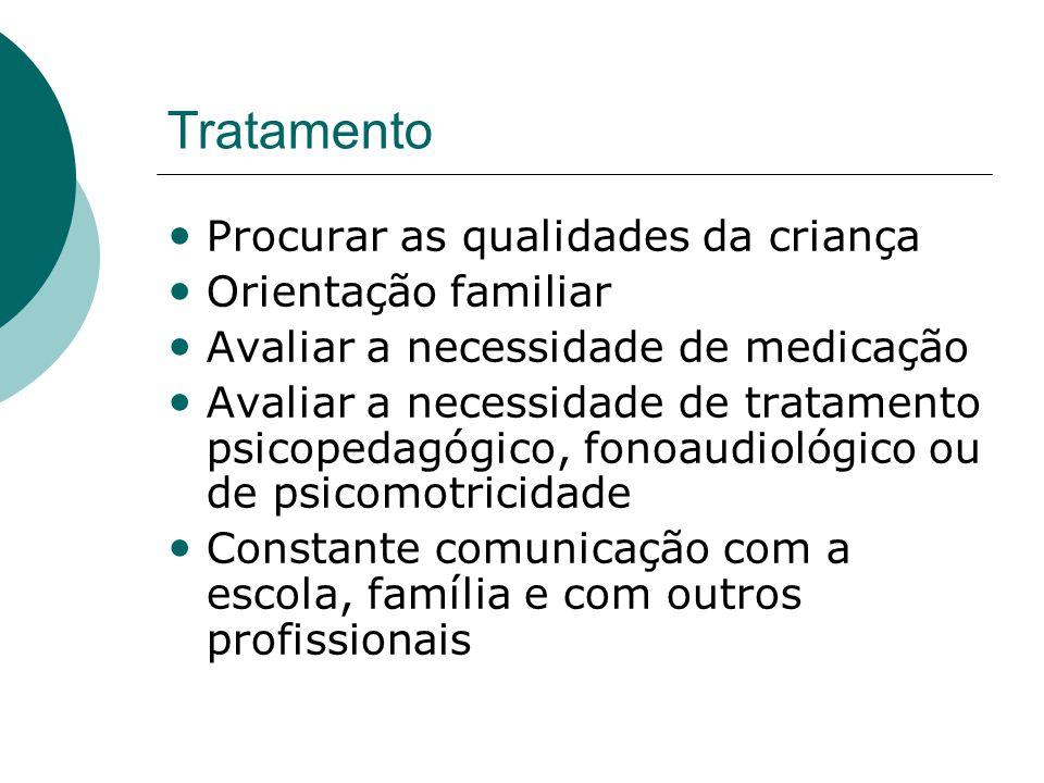 Tratamento • Procurar as qualidades da criança • Orientação familiar • Avaliar a necessidade de medicação • Avaliar a necessidade de tratamento psicopedagógico, fonoaudiológico ou de psicomotricidade • Constante comunicação com a escola, família e com outros profissionais