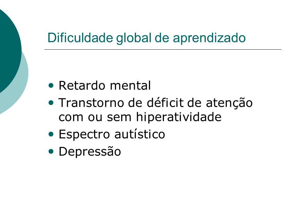 Dificuldade global de aprendizado • Retardo mental • Transtorno de déficit de atenção com ou sem hiperatividade • Espectro autístico • Depressão