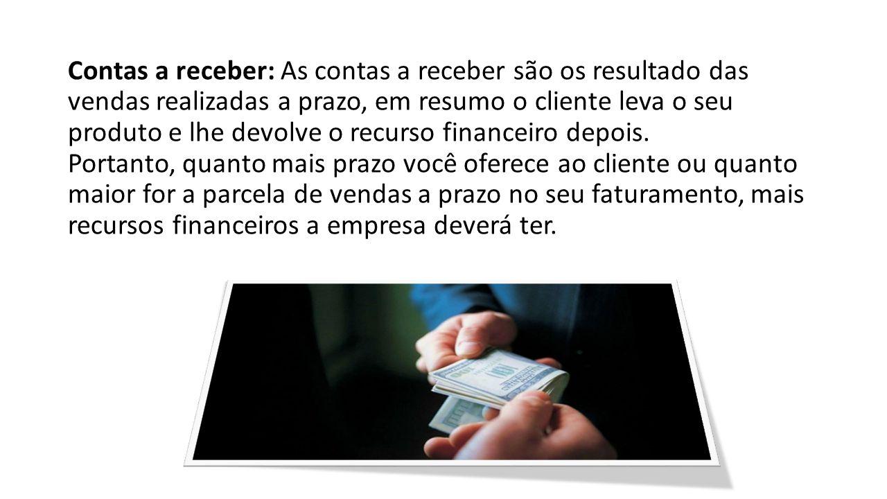 Contas a receber: As contas a receber são os resultado das vendas realizadas a prazo, em resumo o cliente leva o seu produto e lhe devolve o recurso f