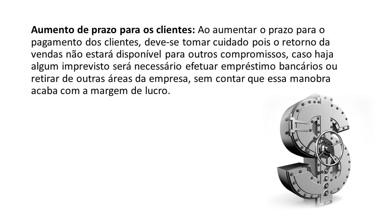 Aumento de prazo para os clientes: Ao aumentar o prazo para o pagamento dos clientes, deve-se tomar cuidado pois o retorno da vendas não estará dispon