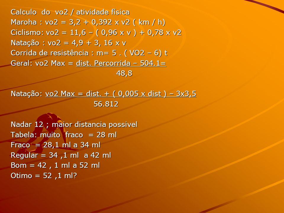 Calculo do vo2 / atividade física Maroha : vo2 = 3,2 + 0,392 x v2 ( km / h) Ciclismo: vo2 = 11,6 – ( 0,96 x v ) + 0,78 x v2 Natação : vo2 = 4,9 + 3, 1