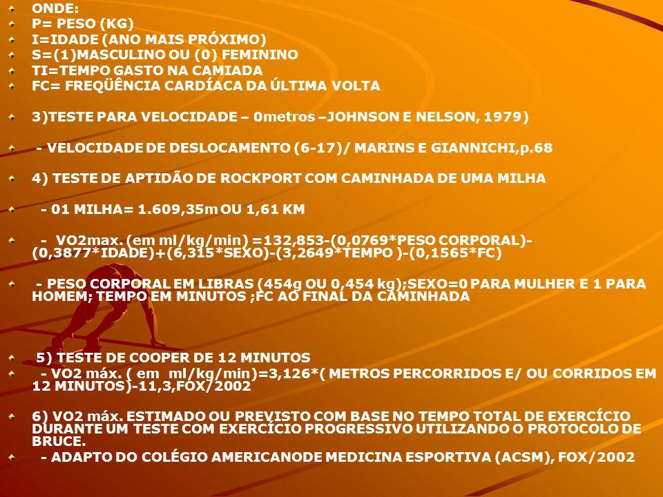 ONDE: P= PESO (KG) I=IDADE (ANO MAIS PRÓXIMO) S=(1)MASCULINO OU (0) FEMININO TI=TEMPO GASTO NA CAMIADA FC= FREQÜÊNCIA CARDÍACA DA ÚLTIMA VOLTA 3)TESTE PARA VELOCIDADE – 0metros –JOHNSON E NELSON, 1979) - VELOCIDADE DE DESLOCAMENTO (6-17)/ MARINS E GIANNICHI,p.68 4) TESTE DE APTIDÃO DE ROCKPORT COM CAMINHADA DE UMA MILHA - 01 MILHA= 1.609,35m OU 1,61 KM - VO2max.