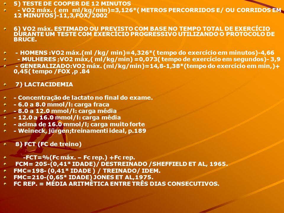 5) TESTE DE COOPER DE 12 MINUTOS - VO2 máx. ( em ml/kg/min)=3,126*( METROS PERCORRIDOS E/ OU CORRIDOS EM 12 MINUTOS)-11,3,FOX/2002 6) VO2 máx. ESTIMAD