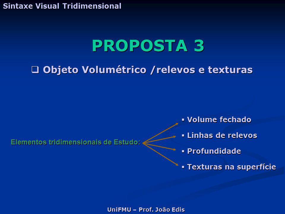 PROPOSTA 3 Sintaxe Visual Tridimensional  Objeto Volumétrico /relevos e texturas Elementos tridimensionais de Estudo:  Volume fechado  Linhas de re