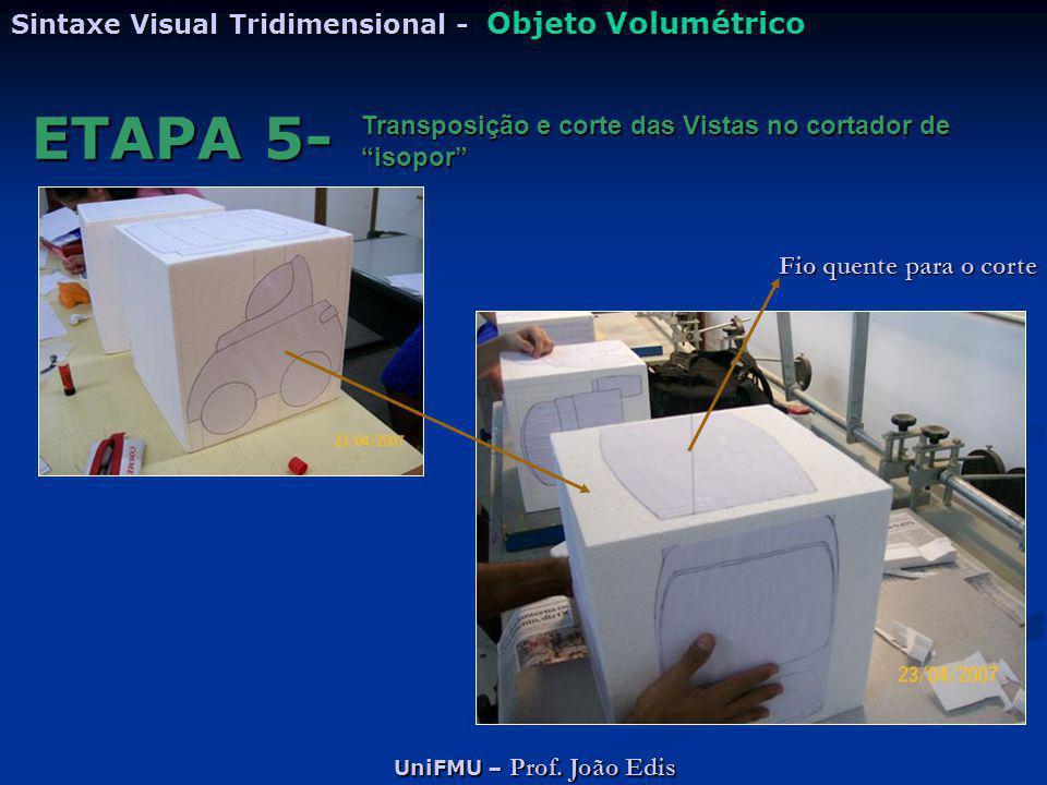 """UniFMU – Prof. João Edis Sintaxe Visual Tridimensional - Objeto Volumétrico ETAPA 5- Transposição e corte das Vistas no cortador de """"isopor"""" Fio quent"""