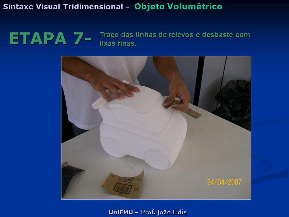 UniFMU – Prof. João Edis Sintaxe Visual Tridimensional - Objeto Volumétrico ETAPA 7- Traço das linhas de relevos e desbaste com lixas finas.