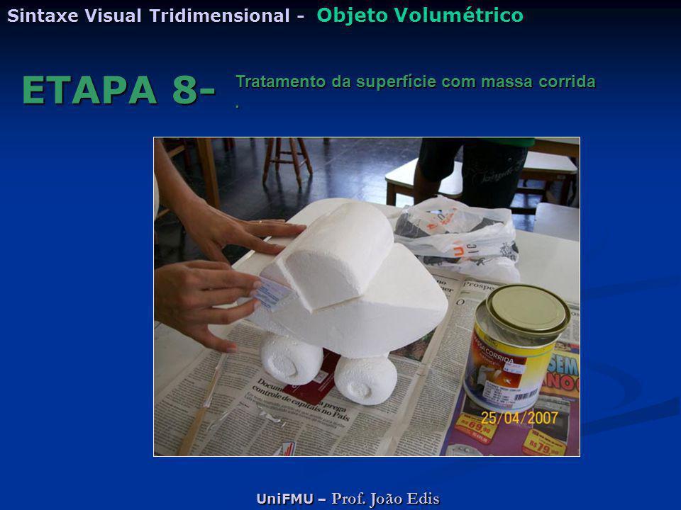 UniFMU – Prof. João Edis Sintaxe Visual Tridimensional - Objeto Volumétrico ETAPA 8- Tratamento da superfície com massa corrida.