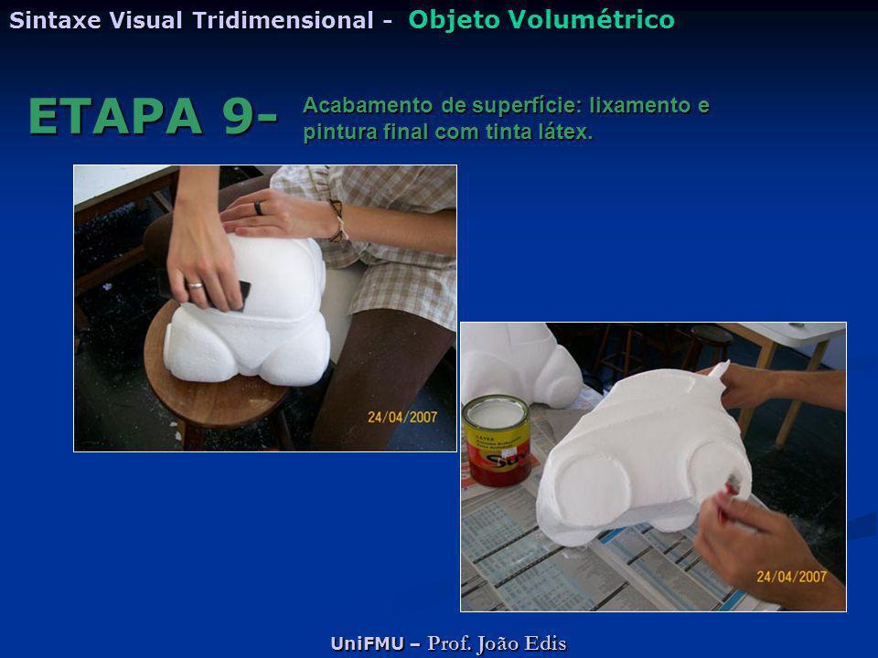 UniFMU – Prof. João Edis Sintaxe Visual Tridimensional - Objeto Volumétrico ETAPA 9- Acabamento de superfície: lixamento e pintura final com tinta lát