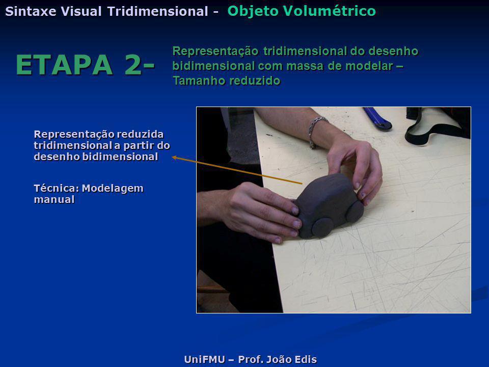 UniFMU – Prof. João Edis Sintaxe Visual Tridimensional - Objeto Volumétrico ETAPA 2- Representação tridimensional do desenho bidimensional com massa d
