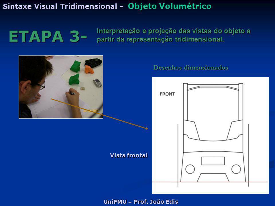 UniFMU – Prof. João Edis Sintaxe Visual Tridimensional - Objeto Volumétrico ETAPA 3- Interpretação e projeção das vistas do objeto a partir da represe