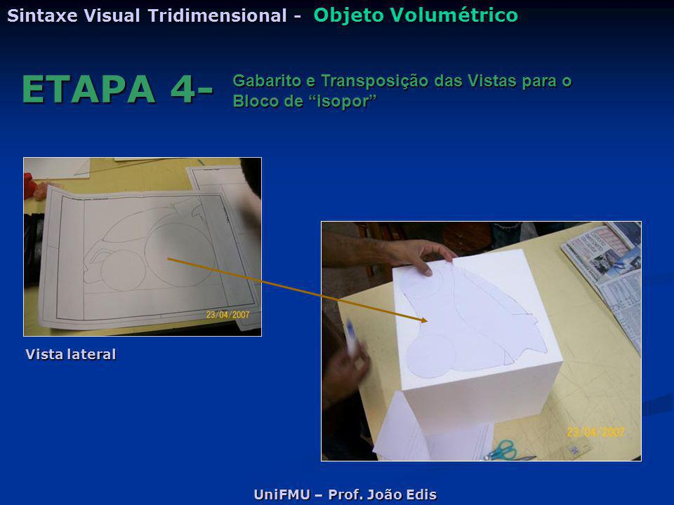 """UniFMU – Prof. João Edis Sintaxe Visual Tridimensional - Objeto Volumétrico ETAPA 4- Gabarito e Transposição das Vistas para o Bloco de """"isopor"""" Vista"""