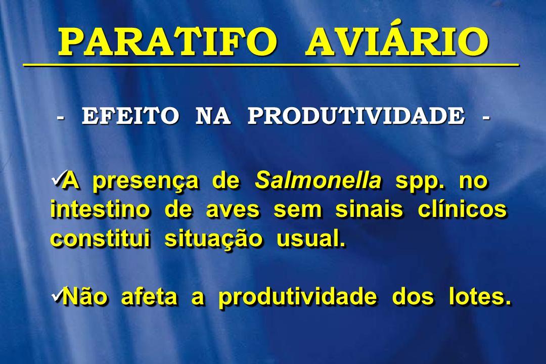 PARATIFO AVIÁRIO  A presença de Salmonella spp. no intestino de aves sem sinais clínicos constitui situação usual.  Não afeta a produtividade dos lo