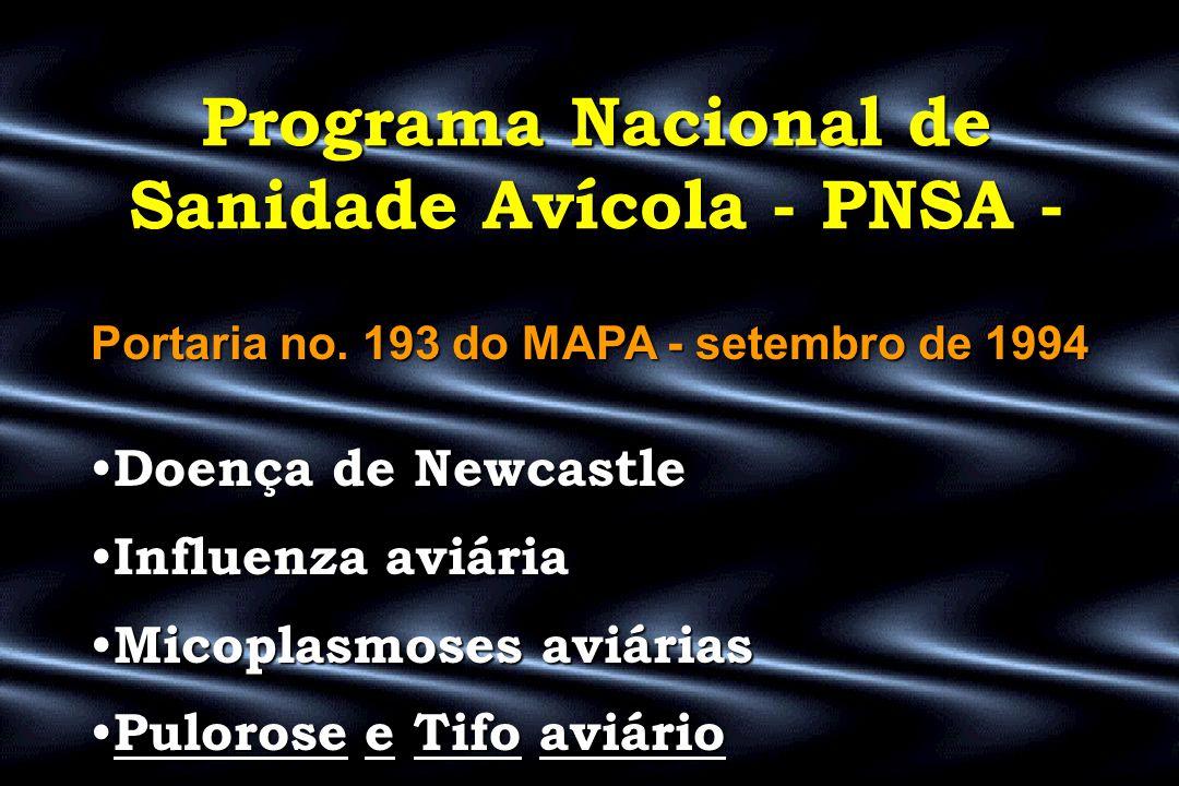 Programa Nacional de Sanidade Avícola - PNSA - Portaria no. 193 do MAPA - setembro de 1994 • Doença • Doença de Newcastle • Influenza • Influenza aviá