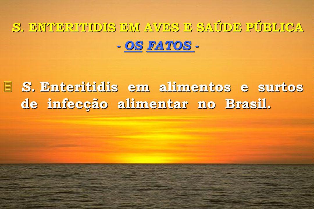 S. ENTERITIDIS EM AVES E SAÚDE PÚBLICA - OS FATOS - 3 S. 3 S. Enteritidis em alimentos e surtos de infecção alimentar no Brasil.