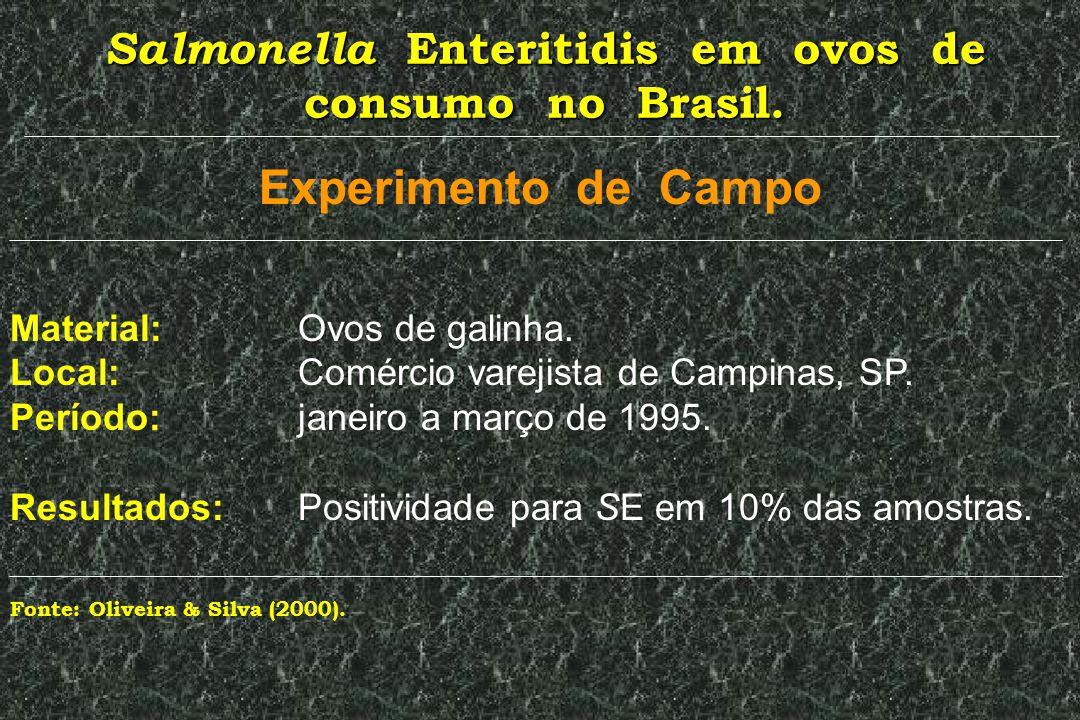 Salmonella Enteritidis em ovos de consumo no Brasil. Experimento de Campo Material: Ovos de galinha. Local: Comércio varejista de Campinas, SP. Períod