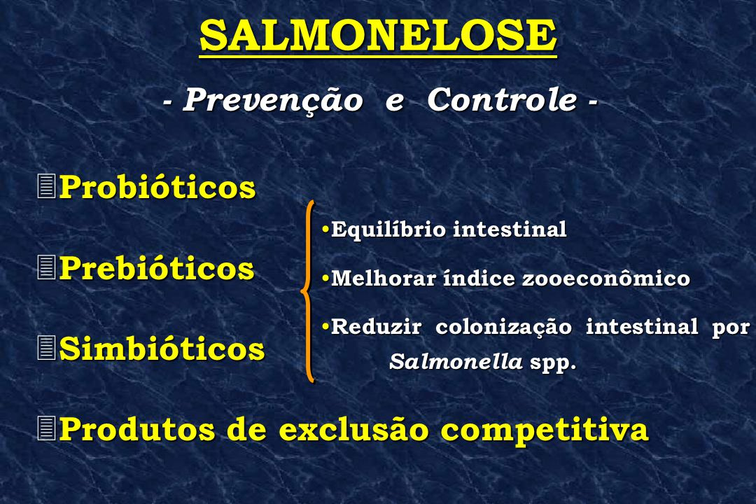 3 Probióticos 3 Prebióticos 3 Simbióticos 3 Produtos de exclusão competitiva - Prevenção e Controle - SALMONELOSE • Equilíbrio • Equilíbrio intestinal