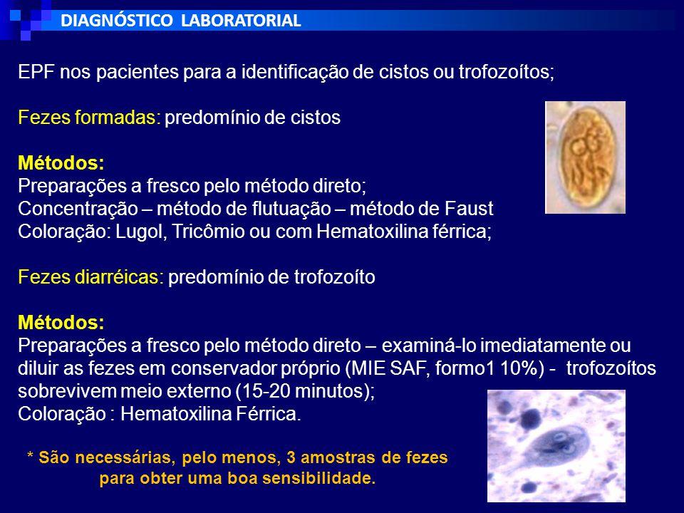 DIAGNÓSTICO LABORATORIAL EPF nos pacientes para a identificação de cistos ou trofozoítos; Fezes formadas: predomínio de cistos Métodos: Preparações a fresco pelo método direto; Concentração – método de flutuação – método de Faust Coloração: Lugol, Tricômio ou com Hematoxilina férrica; Fezes diarréicas: predomínio de trofozoíto Métodos: Preparações a fresco pelo método direto – examiná-lo imediatamente ou diluir as fezes em conservador próprio (MIE SAF, formo1 10%) - trofozoítos sobrevivem meio externo (15-20 minutos); Coloração : Hematoxilina Férrica.