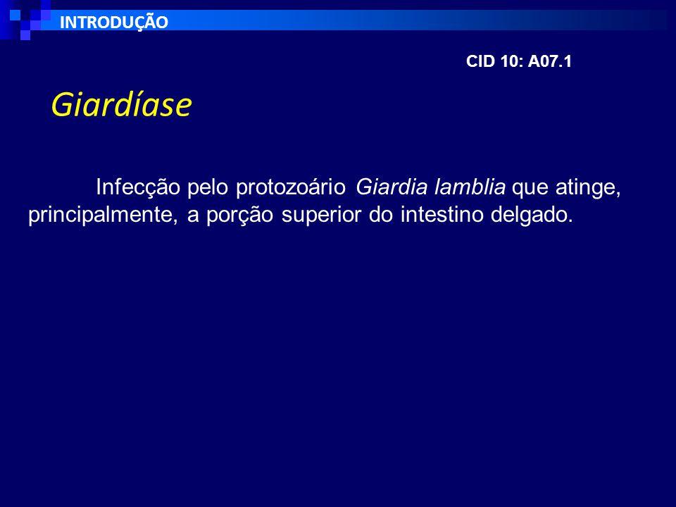 Giardíase Infecção pelo protozoário Giardia lamblia que atinge, principalmente, a porção superior do intestino delgado.