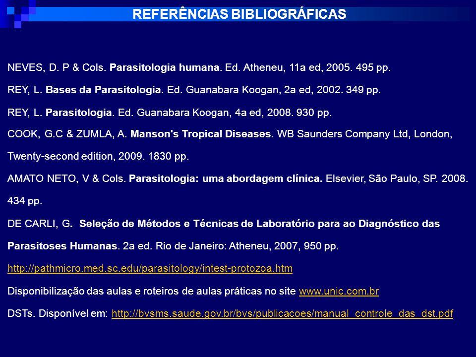 REFERÊNCIAS BIBLIOGRÁFICAS NEVES, D.P & Cols. Parasitologia humana.