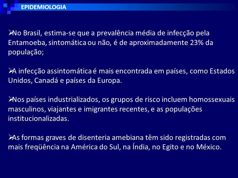 EPIDEMIOLOGIA  No Brasil, estima-se que a prevalência média de infecção pela Entamoeba, sintomática ou não, é de aproximadamente 23% da população;  A infecção assintomática é mais encontrada em países, como Estados Unidos, Canadá e países da Europa.