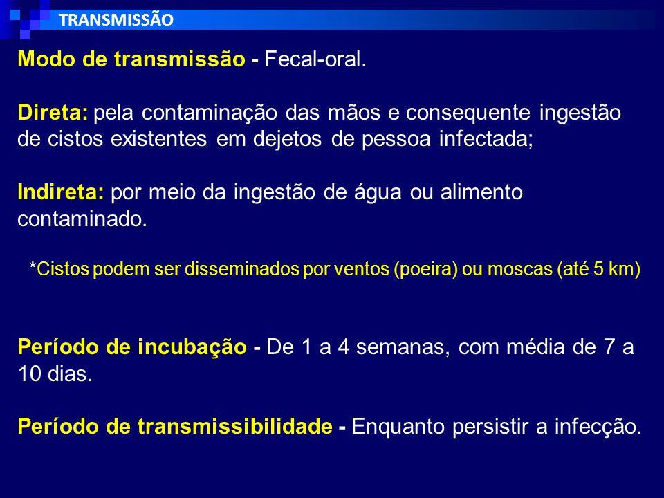 Modo de transmissão:  ingestão de alimentos ou água contaminados por fezes contendo cistos amebianos maduros;  Raramente na transmissão sexual, devido a contato oral-anal.