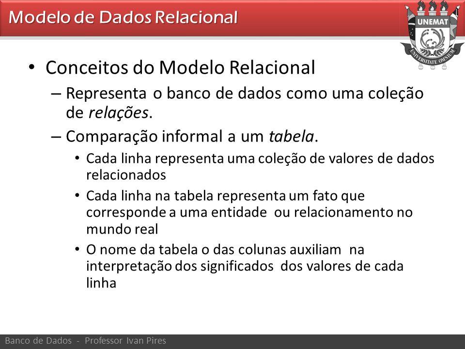 • Conceitos do Modelo Relacional – Representa o banco de dados como uma coleção de relações. – Comparação informal a um tabela. • Cada linha represent
