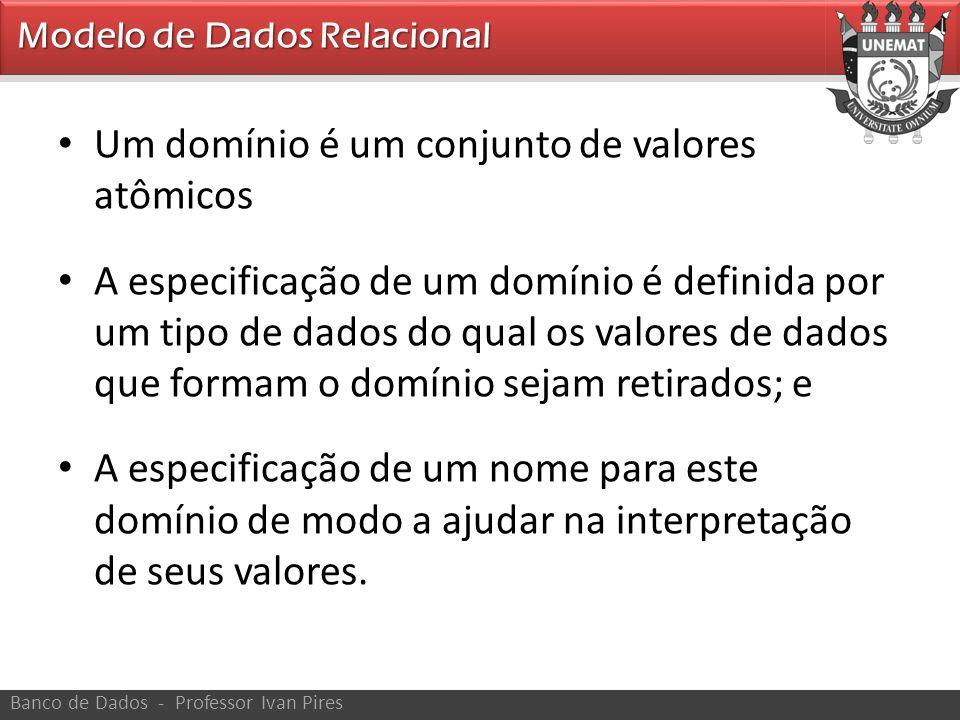 • Exemplos: • Numero_fone_br: conjunto de números de telefones válidos no Brasil com 11 dígitos • Nome_pessoa: conjunto de cadeia de cacteres que representa os nomes das pessoas • Idades_empregados: possíveis idades dos empregados de uma empresa; cada um deve ter um valor entre 15 e 80 anos de idade • CPF: conjunto de 11 dígitos de números inteiros e válidos.
