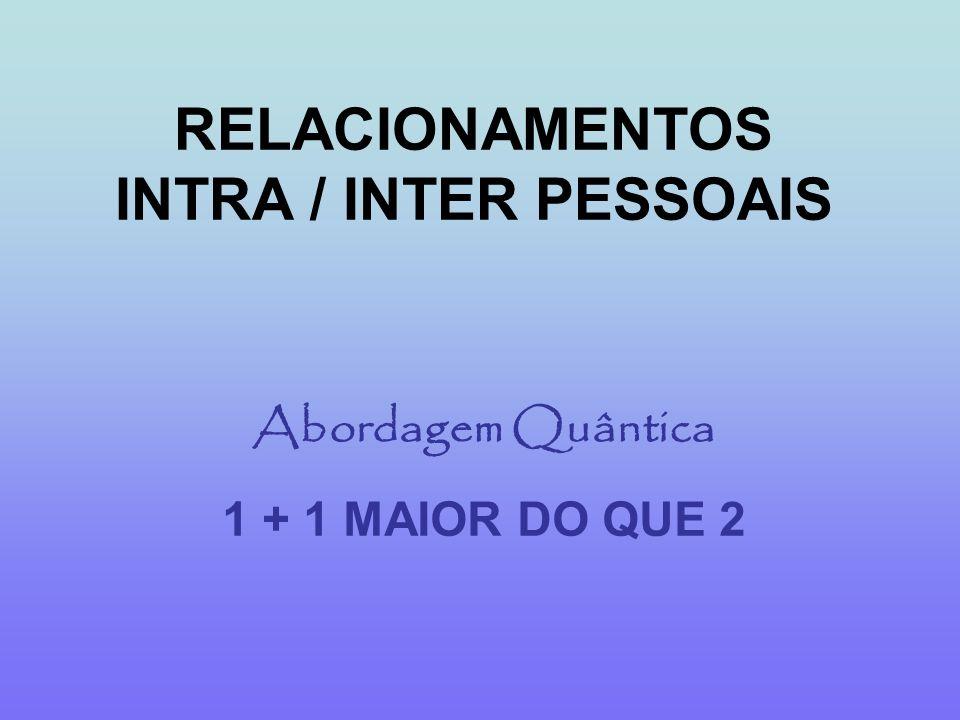 RELACIONAMENTOS INTRA / INTER PESSOAIS Abordagem Quântica 1 + 1 MAIOR DO QUE 2