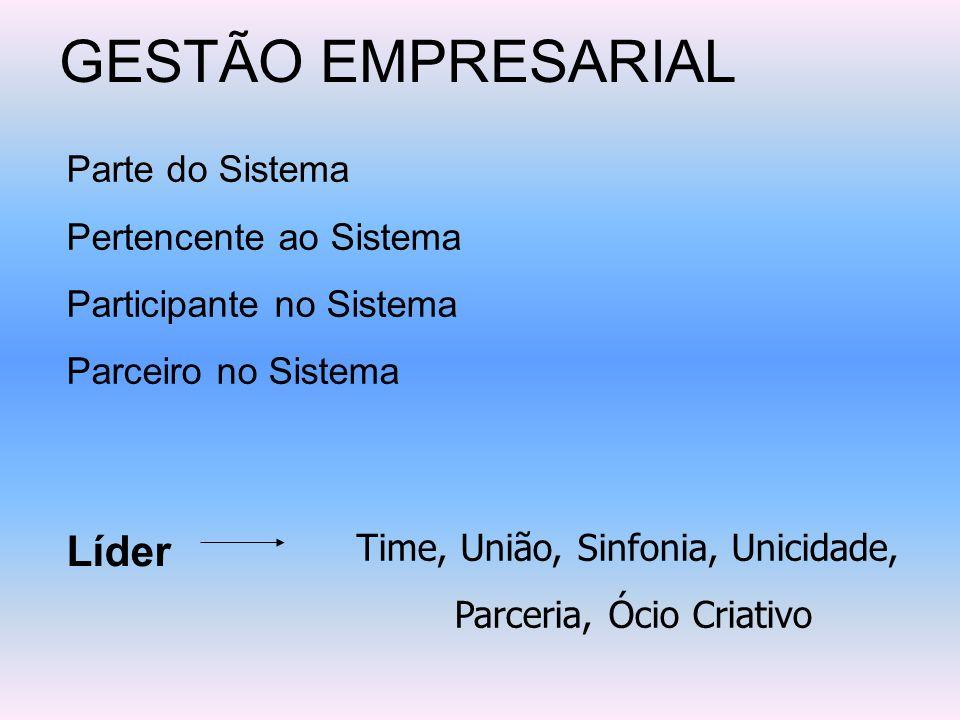 GESTÃO EMPRESARIAL Parte do Sistema Pertencente ao Sistema Participante no Sistema Parceiro no Sistema Líder Time, União, Sinfonia, Unicidade, Parceri