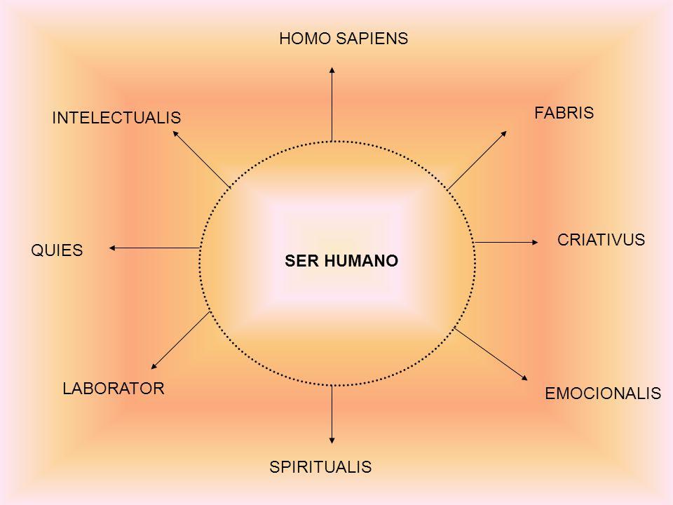 SER HUMANO HOMO SAPIENS FABRIS EMOCIONALIS SPIRITUALIS LABORATOR CRIATIVUS QUIES INTELECTUALIS