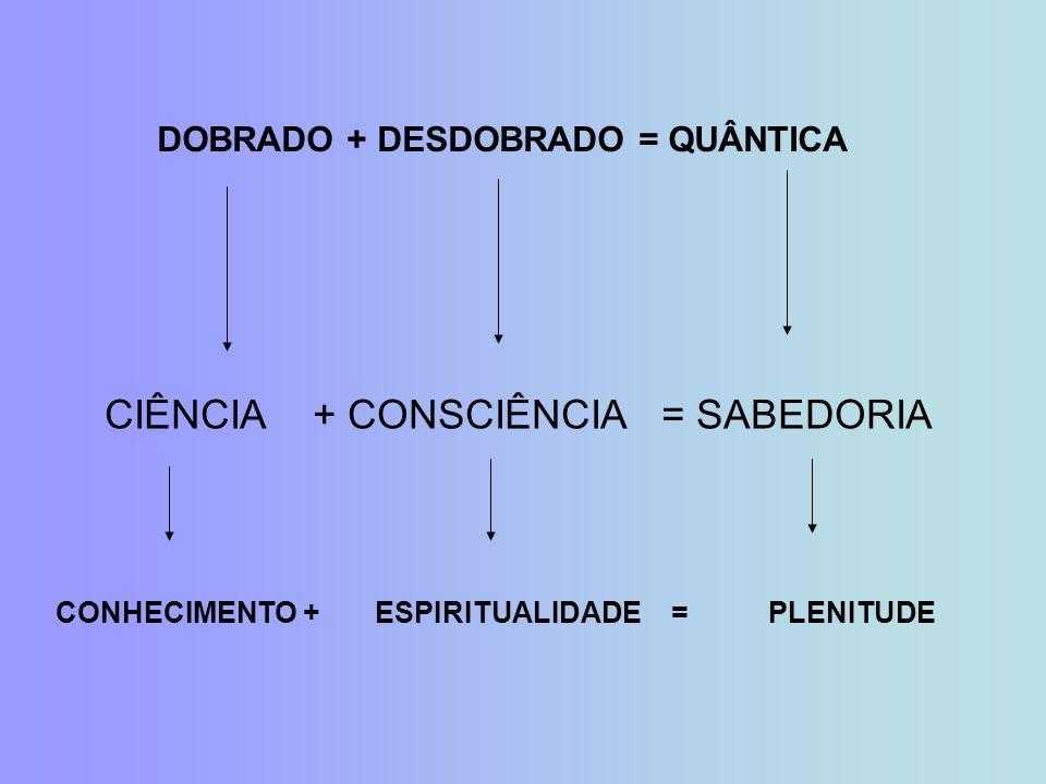 CIÊNCIA + CONSCIÊNCIA = SABEDORIA DOBRADO + DESDOBRADO = QUÂNTICA CONHECIMENTO + ESPIRITUALIDADE = PLENITUDE