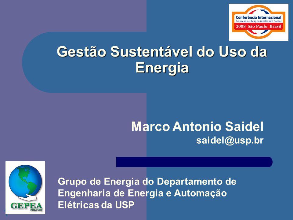 1 Gestão Sustentável do Uso da Energia Marco Antonio Saidel saidel@usp.br Grupo de Energia do Departamento de Engenharia de Energia e Automação Elétri