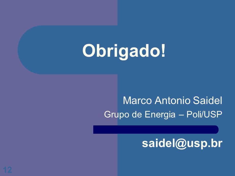 12 Obrigado! Marco Antonio Saidel Grupo de Energia – Poli/USP saidel@usp.br
