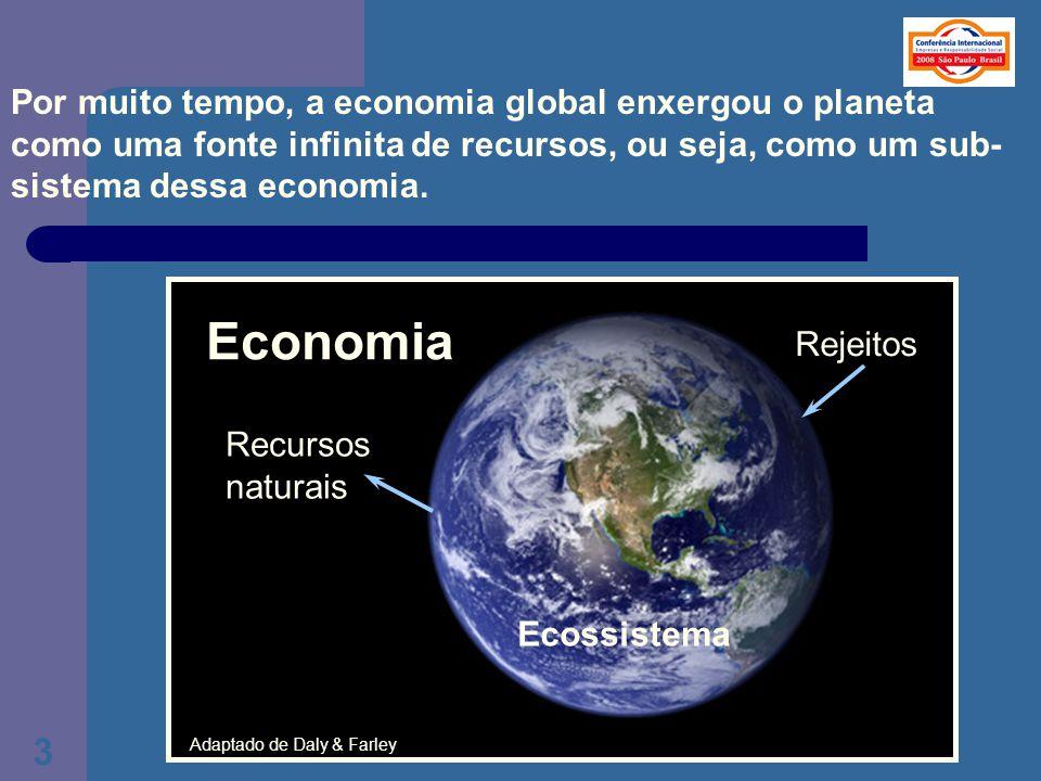 3 Por muito tempo, a economia global enxergou o planeta como uma fonte infinita de recursos, ou seja, como um sub- sistema dessa economia. Economia Re
