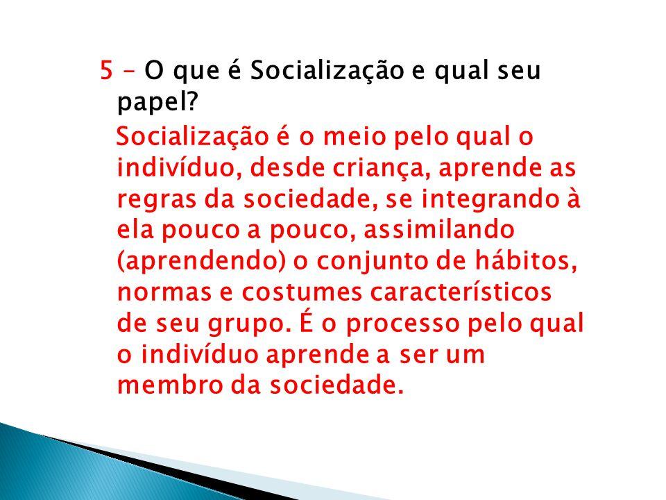 5 – O que é Socialização e qual seu papel? Socialização é o meio pelo qual o indivíduo, desde criança, aprende as regras da sociedade, se integrando à
